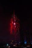 Città del Dubai dei fuochi d'artificio e Burj Khalifa Fotografie Stock Libere da Diritti