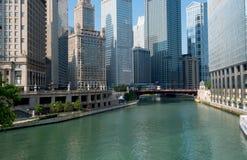 Città del fiume del Chicago di Chicago Illinois, S.U.A. Fotografia Stock Libera da Diritti