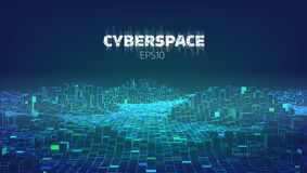 Città del gioco del Cyberspace Internet delle cose Fondo futuristico di tecnologia illustrazione vettoriale