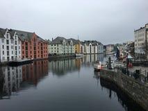 Città del lesund di Ã…, Norvegia Fotografia Stock Libera da Diritti