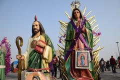 Città del Messico, Messico 11 dicembre 2018: I pellegrini celebrano i festeggiamenti alla basilica di Guadalupe immagine stock libera da diritti