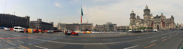 Città del Messico, Messico - 24 novembre 2015: Cattedrale metropolitana di Città del Messico, quadrato di Zocalo, panorama di Cit Immagine Stock Libera da Diritti