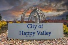 Città del segno felice della valle Fotografie Stock Libere da Diritti