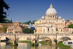 Città del Vaticano da Ponte Umberto I a Roma, Italia Fotografia Stock Libera da Diritti