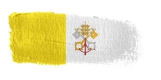 Città del Vaticano della bandierina di Brushstroke Fotografie Stock Libere da Diritti