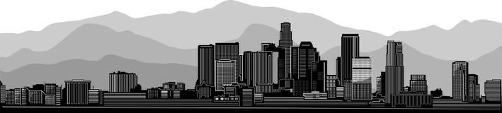 Città dell'orizzonte di Los Angeles Versione grigia di Mountain View illustrazione di stock