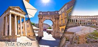 Città della cartolina turistica del collage panoramico romano storico dei punti di riferimento di Pola con la vista dell'etichett fotografia stock