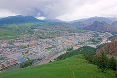 Città della contea di Qilian fotografia stock libera da diritti