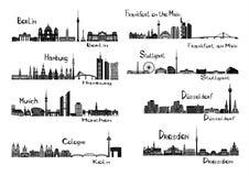 8 città della Germania Immagini Stock