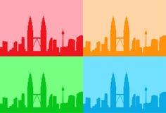 Città della Malesia Kuala Lumpur Colorful Set Skyline royalty illustrazione gratis