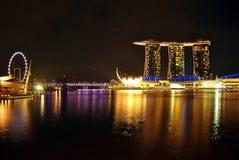 Città della notte a Singapore Immagine Stock