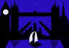 Città della siluetta di Londra alla notte fotografia stock