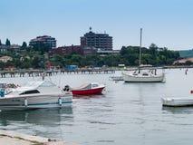 Città della spiaggia di PortoRose sul mare adriatico, Slovenia, Europa Fotografie Stock