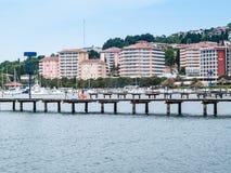 Città della spiaggia di PortoRose sul mare adriatico, Slovenia, Europa Fotografia Stock