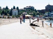Città della spiaggia di PortoRose sul mare adriatico, Slovenia, Europa Immagine Stock Libera da Diritti