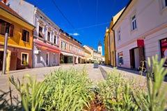 Città della vista della via principale di Cakovec Fotografia Stock Libera da Diritti