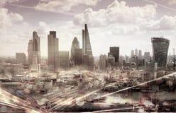 Città della vista di Londra con le riflessioni dei semafori Immagini Stock Libere da Diritti