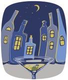 Città delle bottiglie alla notte Fotografie Stock Libere da Diritti