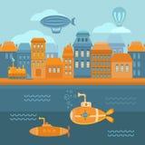 Città dello steampunk dell'illustrazione Immagine Stock Libera da Diritti
