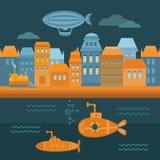 Città dello steampunk dell'illustrazione Fotografia Stock