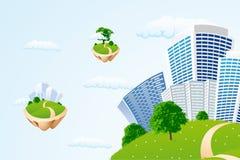 Città di affari nel cielo Fotografie Stock Libere da Diritti