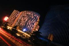 Città di Ahmedabad, orizzonte dell'India alla notte Fotografia Stock