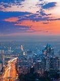 Città di Almaty al tramonto Fotografie Stock