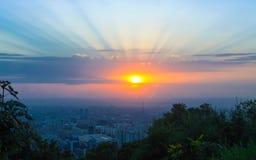 Città di Almaty da Kok-tobe Fotografie Stock