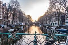 Città di Amsterdam, fiume Immagine Stock
