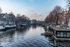 Città di Amsterdam, fiume Fotografia Stock Libera da Diritti