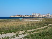 Città di Aqtau sulla spiaggia Fotografie Stock