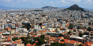 Città di Atene e supporto di Lycabettus, Grecia Fotografie Stock Libere da Diritti
