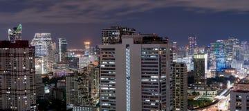 Città di Bangkok alla notte Fotografia Stock
