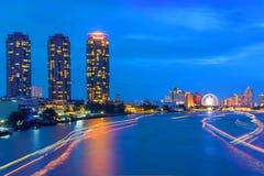 Città di Bangkok di traffico del fiume Fotografia Stock Libera da Diritti