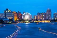 Città di Bangkok di traffico del fiume Immagini Stock Libere da Diritti