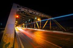 Città di Bangkok, vista di notte, ora di punta immagini stock libere da diritti