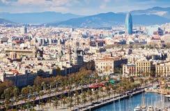Città di Barcellona dal babordo fotografia stock libera da diritti