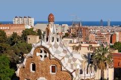 Città di Barcellona dal parco Guell Fotografia Stock