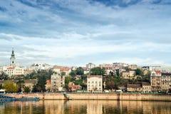 Città di Belgrado sopra il fiume Sava fotografia stock libera da diritti