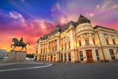 Città di Bucarest di notte Fotografia Stock Libera da Diritti