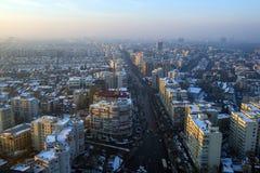 Città di Bucarest nell'inverno Fotografie Stock