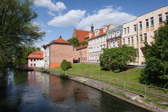 Città di Bydgoszcz lungo il fiume Brda Fotografia Stock Libera da Diritti