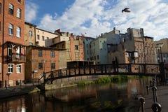 Città di Bydgoszcz in Polonia, ponte immagini stock libere da diritti