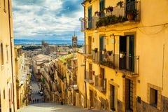 Città di Caltagirone, Sicilia Fotografia Stock Libera da Diritti