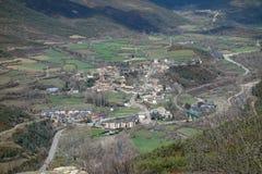 Città di Castiello de Jaca dalla montagna Immagine Stock