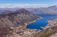 Città di Cattaro e baia di Cattaro. Il Montenegro Fotografie Stock
