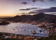 Città di Charlotte Amalie e porto fotografia stock libera da diritti