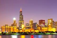 Città di Chicago U.S.A., orizzonte variopinto di panorama di tramonto Immagini Stock