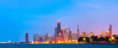 Città di Chicago U.S.A., orizzonte variopinto di panorama di tramonto Fotografie Stock