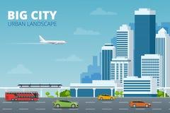 Città di concetto di vettore e vita suburbana Via della città, grandi costruzioni moderne, paesaggio urbano, automobili Paesaggio illustrazione di stock
